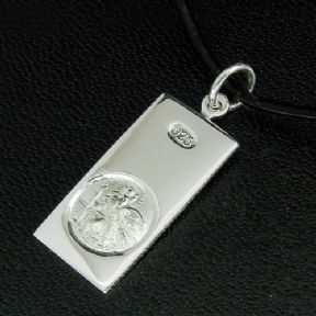Saint Christopher Personalised Small Silver Ingot Dog Tag, ref SCDT